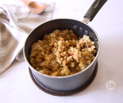 stuffing in saucepan